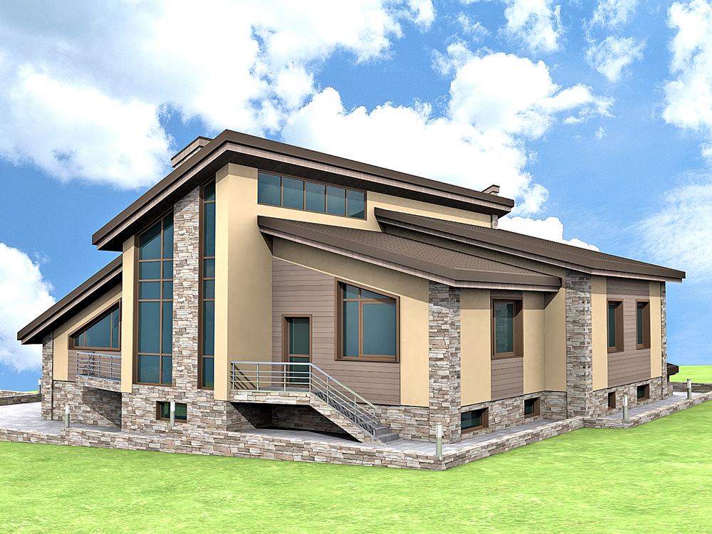 Проект современного дома, с цокольным этажом